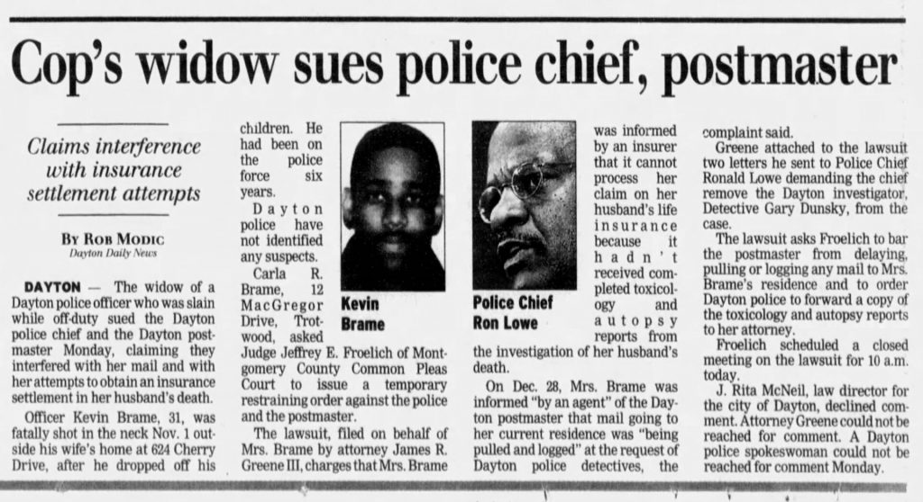 "Image of article titled ""Cop's widow sues police chief"