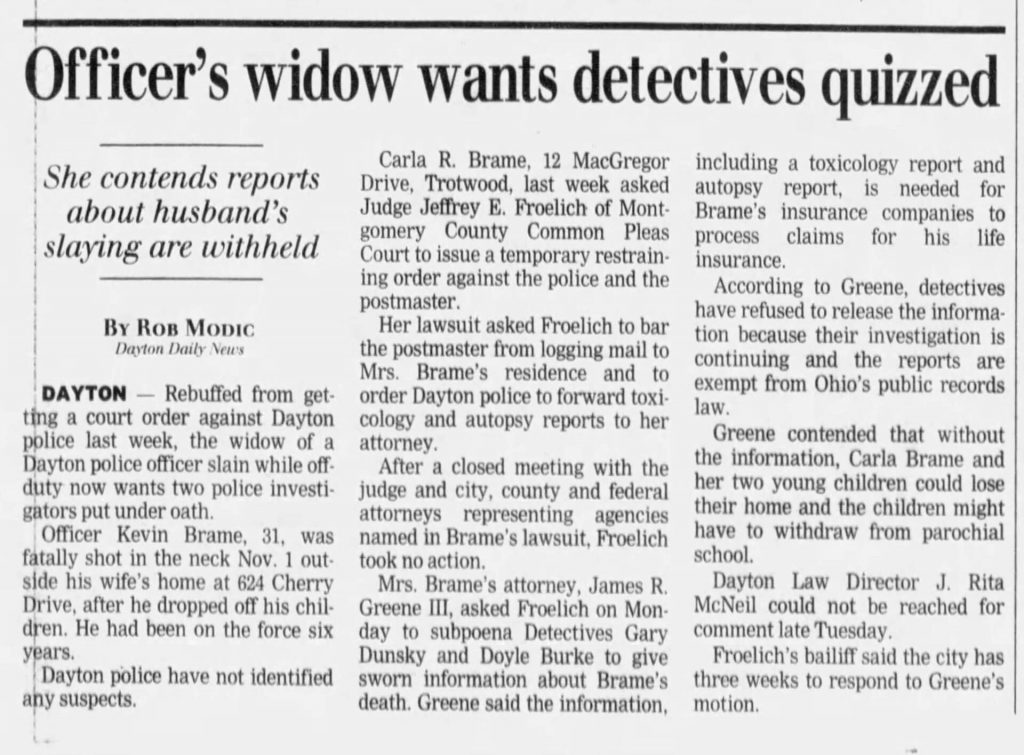 "Image of article titled ""Officer's widow wants detectives quizzed"" from Dayton Daily News"