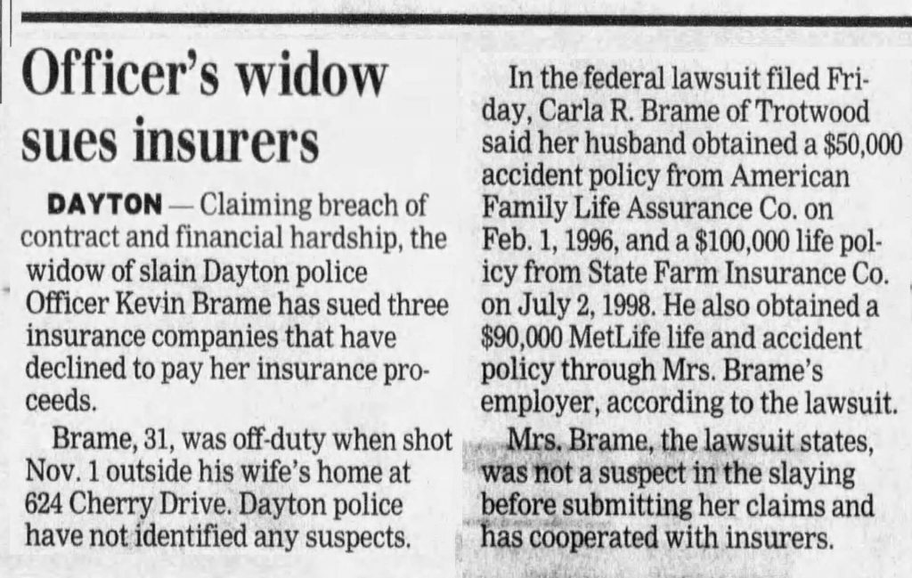 "Image of article titled ""Officer's widow sues insurers"" from Dayton Daily News"