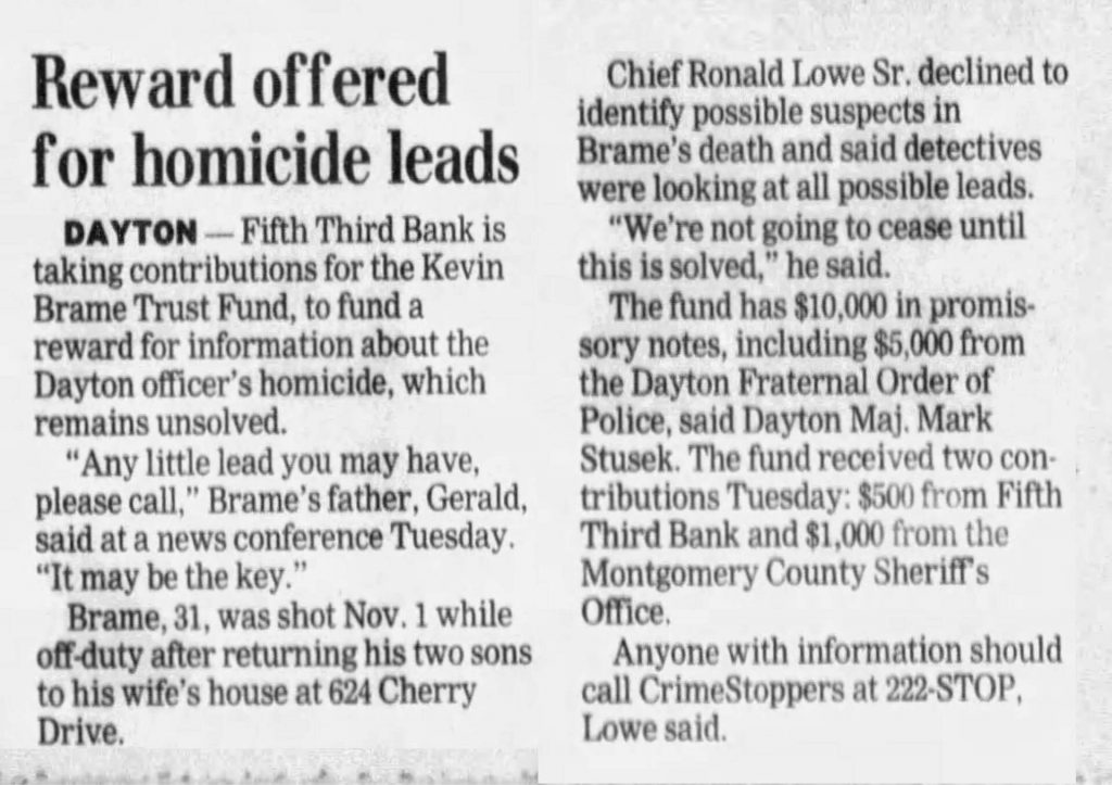 "Image of article titled ""Reward offered for homicide leads"" from Dayton Daily News"
