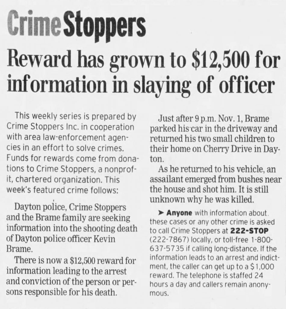 "Image of article titled ""Reward increased in officer's slaying"" from Dayton Daily News"