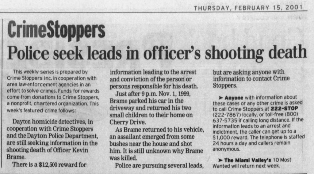 "Image of article titled ""Police seek leads in officer's slaying"" from Dayton Daily News"