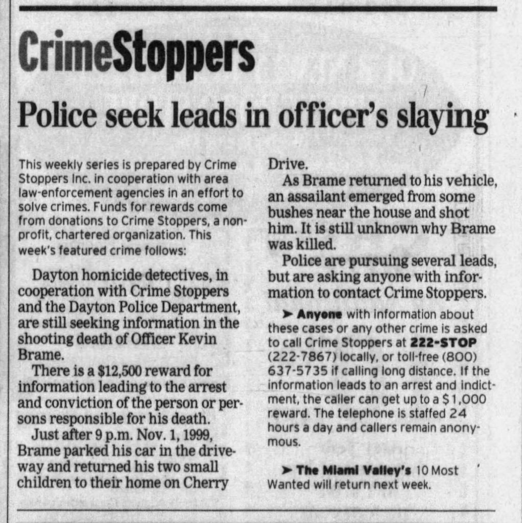 "Image of article titled ""Leads sought in slaying of police officer"" from Dayton Daily News"