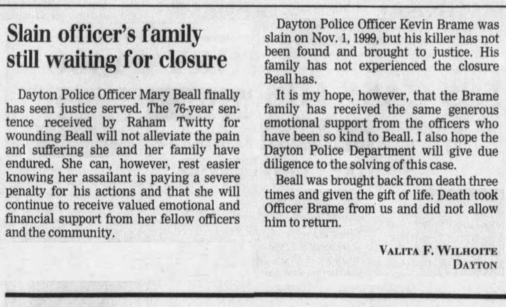 "Image of article titled ""Slain officer's family still waiting for closure"" from Dayton Daily News"