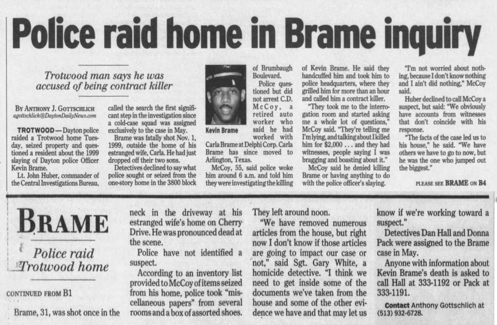 "Image of article titled ""Police raid home in Brame inquiry"" from Dayton Daily News"