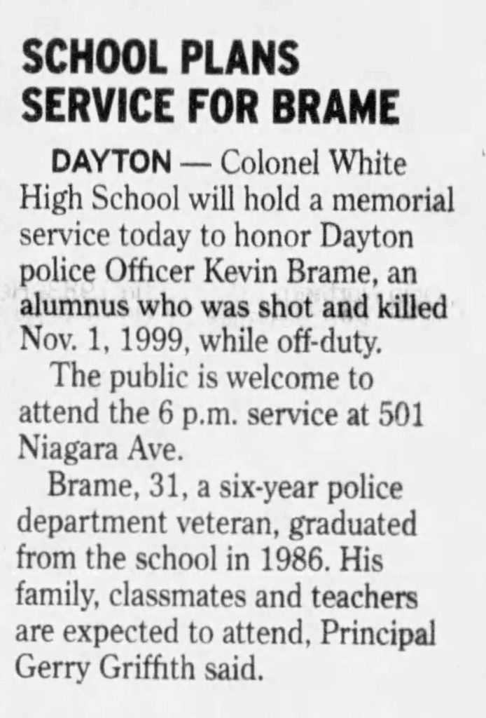 "Image of article titled ""School plans service for Brame"" from Dayton Daily News"