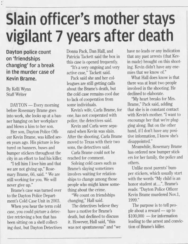 "Image of article titled ""Murder of officer is now 7 years cold"" from Dayton Daily News"