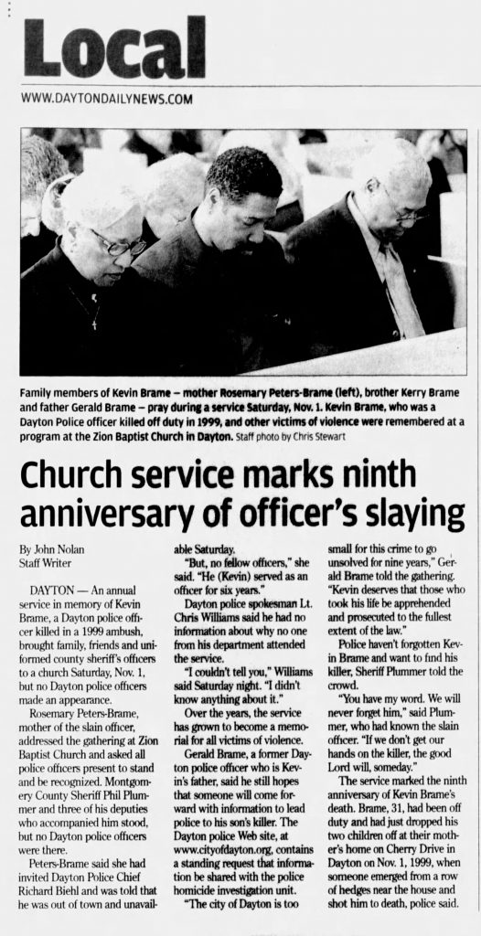 "Image of article titled ""Church service marks ninth anniversary of officer's slaying"" from Dayton Daily News"