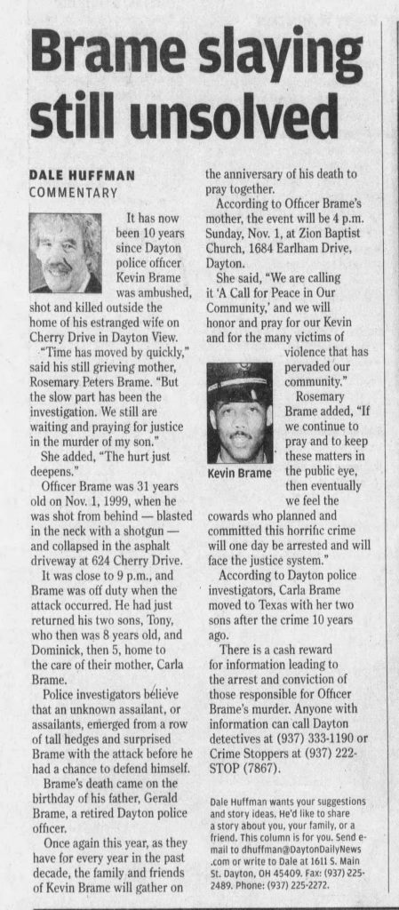 "Image of article titled ""Brame slaying still unsolved"" from Dayton Daily News"